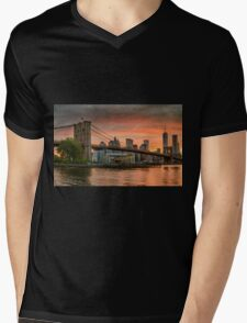 Sunset Over Brooklyn Bridge Mens V-Neck T-Shirt