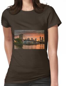 Sunset Over Brooklyn Bridge Womens Fitted T-Shirt