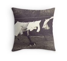 Out on the line Throw Pillow
