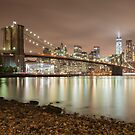 Brooklyn Bridge at Dusk by Randy  LeMoine