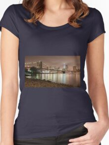 Brooklyn Bridge at Dusk Women's Fitted Scoop T-Shirt