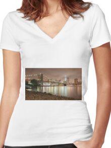 Brooklyn Bridge at Dusk Women's Fitted V-Neck T-Shirt