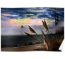 Golden Gate bridge on a foggy day Poster