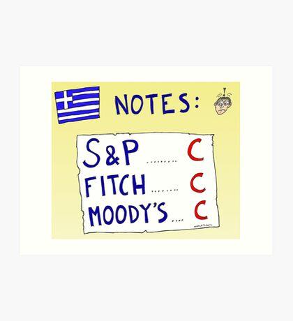 Binary Options News Cartoon - Three C Ratings on Greek Notes FAIL Art Print