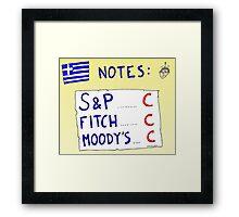 Binary Options News Cartoon - Three C Ratings on Greek Notes FAIL Framed Print