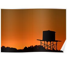 Water tank at sunset Poster