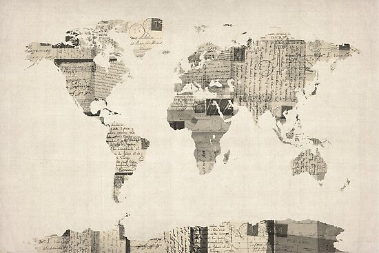 Map of the World Map from Old Postcards by Michael Tompsett