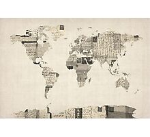 Map of the World Map from Old Postcards Photographic Print