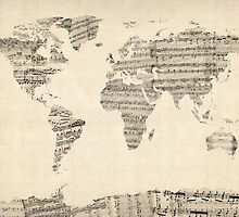 Map of the World Map from Old Sheet Music by Michael Tompsett