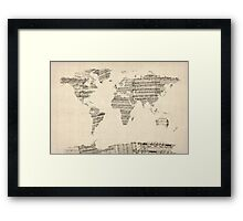 Map of the World Map from Old Sheet Music Framed Print