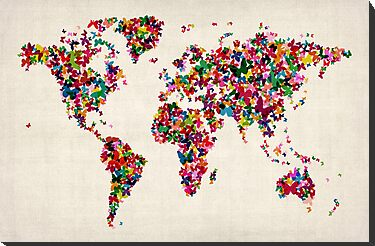 Butterflies Map of the World Map by ArtPrints