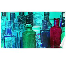 Antique Glass Bottles Poster