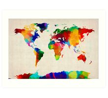Map of the World Map Painting Art Print