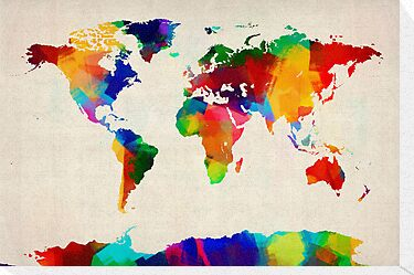 Map of the World Map Painting by ArtPrints