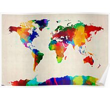 Map of the World Map Painting Poster