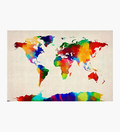 Map of the World Map Painting Photographic Print