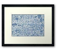 London Map Art Steel Blue Framed Print