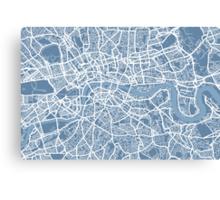 London Map Art Steel Blue Canvas Print