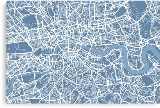 London Map Art Steel Blue by Michael Tompsett