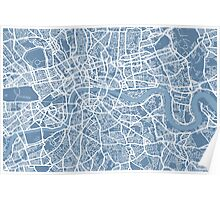 London Map Art Steel Blue Poster