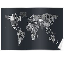 Typograhpy Text Map of the World Poster