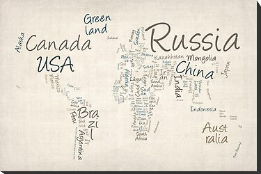 Writing Text Map of the World Map by ArtPrints