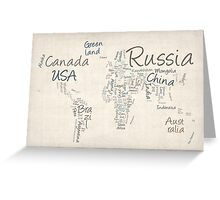 Writing Text Map of the World Map Greeting Card