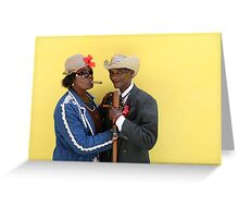 Cuban man and Daughter posing with their cigars and cane. Greeting Card