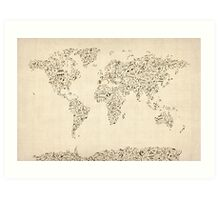 Music Notes Map of the World Art Print
