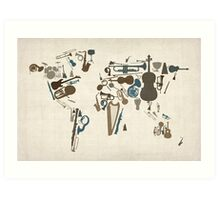 Musical Instruments Map of the World Art Print