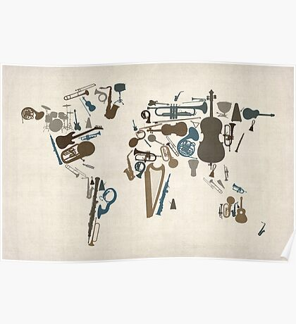 Musical Instruments Map of the World Poster