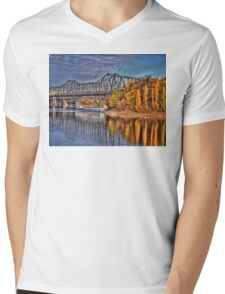 Bridge over Water Mens V-Neck T-Shirt