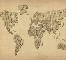 Typographic Text Map of the World by Michael Tompsett