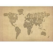 Typographic Text Map of the World Photographic Print