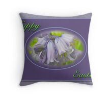 Happy Easter Blue Hyacinth Flowers Throw Pillow