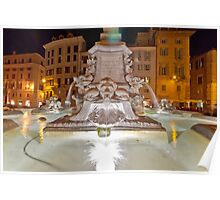 Fountain with Ancient Roman Statues Poster