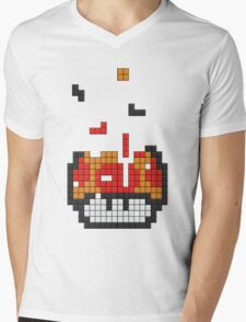 Super Mario Mushroom Pixel Mens V-Neck T-Shirt