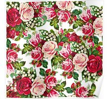 Chic vintage red pink roses flowers pattern Poster