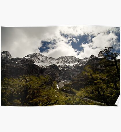 Mountain scene south island New Zealand Poster