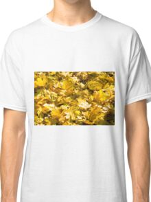 Selective focus on a set of yellow autumn fallen maple leaves Classic T-Shirt