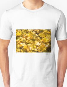 Selective focus on a set of yellow autumn fallen maple leaves T-Shirt