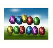 Coloured Happy Easter Eggs Art Print