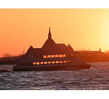 Jersey City, New Jersey Sunset and Ferry on the Hudson River Photographic Print