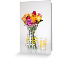 Bright Coloured Roses in a 60's Glass Jug Greeting Card