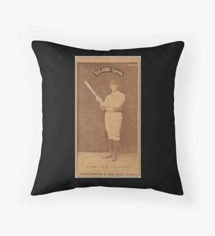 Benjamin K Edwards Collection Jerry Denny Indianapolis Hoosiers baseball card portrait 002 Throw Pillow