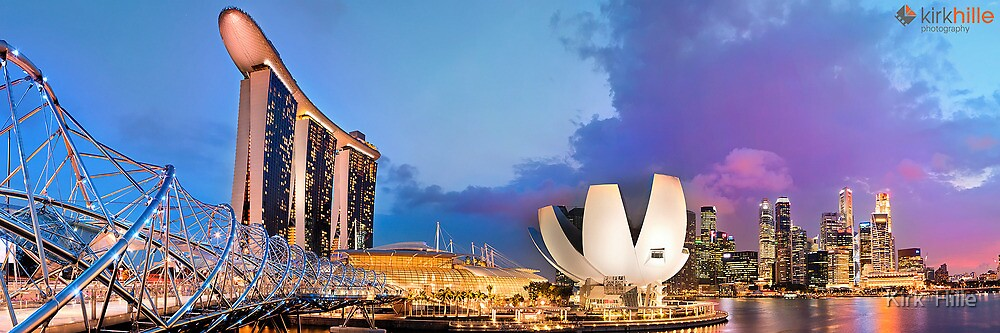 Singapore Skyline and Marine Bay Sands and Helix Bridge by Kirk  Hille