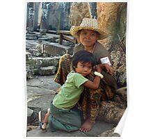 Mother & Child - Ta Prohm, Cambodia Poster