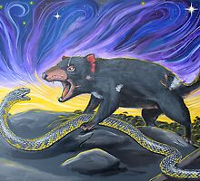 Tiger Snake vs Tasmanian Devil by SnakeArtist