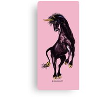 ONCE UPON A TIME ~ Black Unicorn Rearing by tasmanianartist Canvas Print