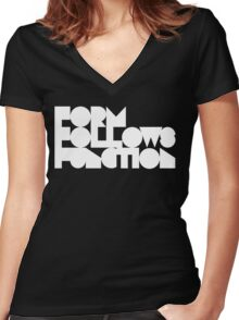 FFF - White Ink Women's Fitted V-Neck T-Shirt